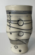 Mint Bob And Cheryl Husby Pottery Glass Goblet Black White Freeform Abstract