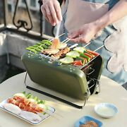 Bbq Barbecue Grill Small Folding Portable Charcoal Stove Camping Garden Outdoor