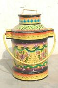Old Vintage Handmade Iron Milk Pail Can Antique Indian Decor Collectible Bn-30