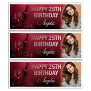 Photo Personalised Red Wine Bottle Happy Birthday Banner Wall Decoration