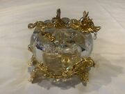 Franklin Mint Cinderella Crystal Pumpkin With Mice Gus And Jaq 24k Gold Plated
