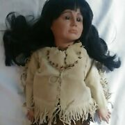 Simon Halbig 1303 Reproduction Doll Brown Color Very Old Clothing.