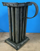 Antique Colonial Primitive 12 Hole Tin Handled Candle Mold With Base Farmhouse