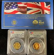 2020-w Mayflower 400th Anniv. 2-coin Gold Proof Set Pcgs Pr70 And 69 Fs