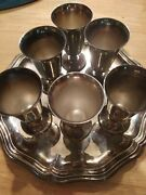 Vintage De Uberti Shot Set Of 6 With Tray Silver Plate Made In Italy