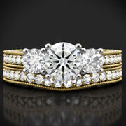 Real 2.00 Ct Diamond Wedding Rings Set For Ladies 14k Solid Yellow Gold Size 7 8