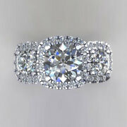 Stunning 1.50 Ct Real Round Cut Diamond Engagement Rings 14k White Gold Size 8 9