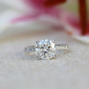Natural 0.95 Ct Round Cut Diamond Engagement Rings Solid 14k White Gold Size 8 9