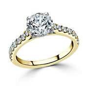 Round Cut 0.98 Ct Real Diamond Womanand039s Engagement Ring 14k Yellow Gold Size 6 7