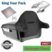 Advanblack Midnight Pearl King Tour Pak Pack Backrest Pad For 97+ Harley Touring