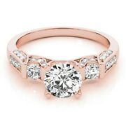 Superbes 1.03 Ct Vrai Diamant Mariage Anneaux 14k Solide Or Rose Taille 6 7 8