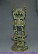 19.6 Rare Antique Chinese Bronze Dynasty Palace Dragon Beast People Sculpture
