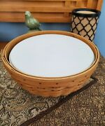 Longaberger 2002 9andrdquo Bowl Basket With Snap On Plastic Bowl And Lid