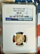 2013 1/10 Oz Gold American Eagle Ms-70 Ngc First Releases  B4