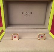 Fred Paris 18k 18ct Yellow Gold Ruby And Mother Of Pearl Cufflinks W/ Box Coa.