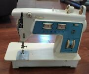 Vtg Blue Singer Touch And Sew Sewing Machine Special Zig Zag Model 756 For Part