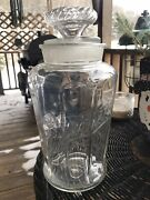 """Bunte Candy Apothecary Glass Jar Pharmacy Drugstore Canister Antique 12"""" Lid"""