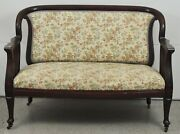 Victorian Mahogany Settee W Casters Chinoiserie Toile Fabric 19th Century