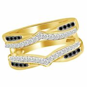 Black And White Diamond Solitaire Engagement Ring Enhancer Wrap 14k Yellow Gold