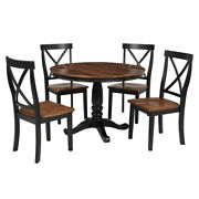 5-pieces Dining Table And Chairs Set Solid Wood Table W/ 4 Chairs For Kitchen Us
