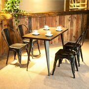 Set Of 2 Vintage High Back Metal Stackable Chair For Home Dining Room Kitchen Us