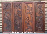 32 Chinese Huanghuali Wood Carving Spring Summer Autumn Winter Screen Set