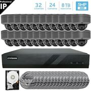 32 Channel 4k 8mp Poe Nvr 24x5mp Hd Ip Dome Camera Cctv Security System 8tb