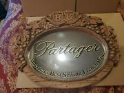 Vtg Barton And Guestier Bandg French Wine Mirror Sign. Soft Wood