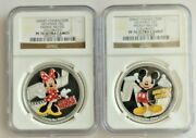 2014 Niue Silver 2 Disney Mickey And Minnie Mouse Colorized Ngc Pf70 Ultra Cameo