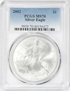 2002 American Silver Eagle 1 Oz Coin Pcgs Ms 70 Perfect Better Date