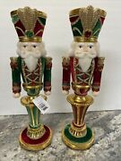 """Katherine's Collection Nutcracker Candle Holder 12-1/2"""" Set Of Two 28-928477"""