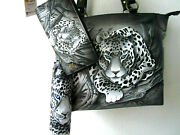 Anuschka African Leopard Hand Painted Leather Tote Purse/wallet/umbrella - Nwt