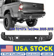 Textured Rear Bumper For 05-2015 Toyota Tacoma W/ D-ring Led License Plate Hole