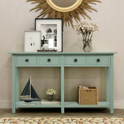 Console Table W/ 4 Storage Drawers And Bottom Shelf Sofa For Entryway Living Room