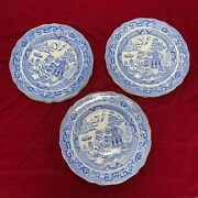 """Rare Lot 6 Copeland England For And Co Ny Blue Willow Plates Gold Rim 8.5"""""""