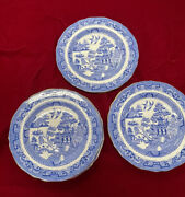 """Rare Lot 6 Copeland England For And Co Ny Blue Willow Plates Gold Rim 7"""""""