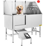 62'' Pet Dog Grooming Bath Tub Station Professional Stainless Steel Wash Shower