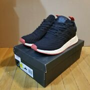 Adidas Menand039s Nmd R2 Primeknit Two Tone Core Black Red Bred Ba7252 Size 9.5