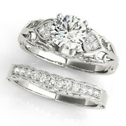 Round Cut 0.75 Ct Real Diamond Wedding Bands Set Solid 14k White Gold Size 5 6 7