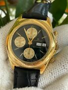 Lorenz Watch 14337 Chronograph Automatic Valjoux 7750 Gold Plated Mens40mm Swiss