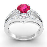 Real 1.34 Ct Diamond Wedding Ruby Wedding Rings Solid 14k White Gold Size 5 6 7