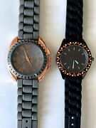 Lot Of 2 Charming Charlie Watches Silicone Bands Orange, Black And Gray, Pink Gold