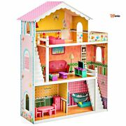 Wooden Dollhouse Furniture Set Large Multicolor 3 Story Kids Toy Play Set 17 Fur