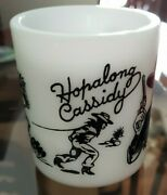 Vintage Hopalong Cassidy White Milk Glass Coffee Cup 3and039and039 High