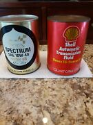 Vintage Cans 1 Sears Oil And 1- Shell Automatic Transmission- Never Opened Full