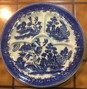 Vintage 10.75 Blue Willow Divided Grill Plate Curved Sections Moriyama Japan