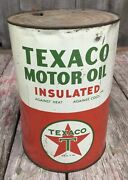 Vintage 5 Qt Texaco Insulated Motor Oil Tin Can Gas Service Station Advertising