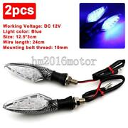 2x Carbon Motorcycle Turn Signals Blinkers Blue Light For Honda Shadow Ace Aero