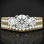 Natural 2.00 Ct Diamond Engagement Rings Set For Ladies 14k Yellow Gold Size 5 6