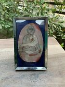 Antique Rare Brass Hand Crafted Frame Collectible Jain Swami Photo Mirror Frame